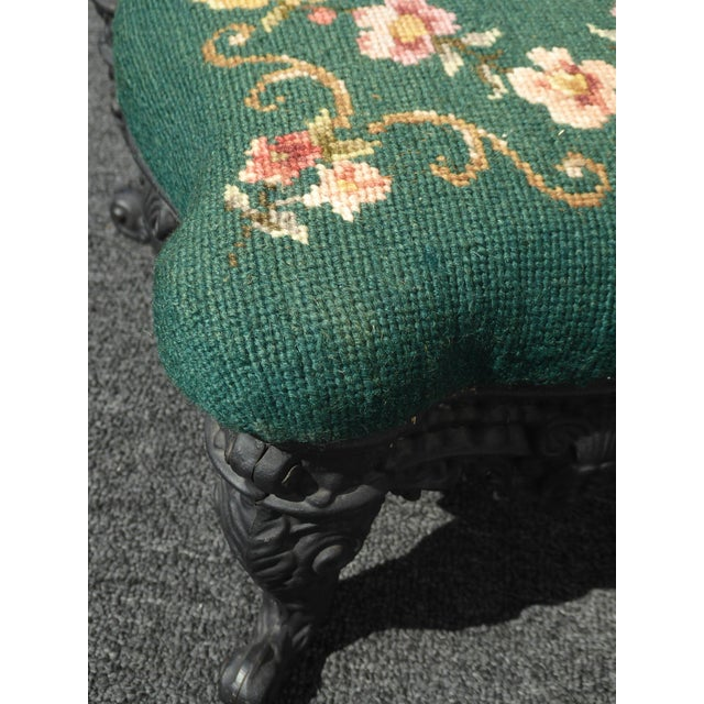 Fabric Vintage French Provincial Green Needlepoint Footstool W Ornate Cast Iron Base For Sale - Image 7 of 12