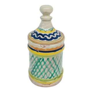 Mexican Green, Blue & Yellow Hand-Painted Lidded Jar For Sale