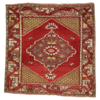 1930s Vintage Distressed Turkish Oushak Small Rug - 2′3″ × 2′4″ For Sale
