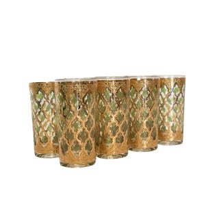 Mid Century Culver Moroccan Style Trellis High Ball Barware Set of 8 For Sale