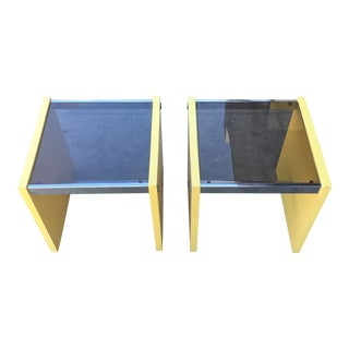 1970's Italian Yellow & Smoke Glass Cube Side Tables - A Pair