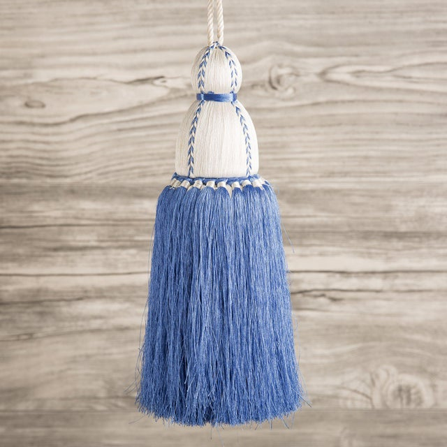 Traditional White & French Blue Tassel, Large For Sale - Image 3 of 3