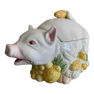 Vintage Italian Ceramic Pig Soup Tureen For Sale