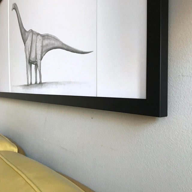 Framed Original Graphite Dinosaur Drawing For Sale In Chicago - Image 6 of 10