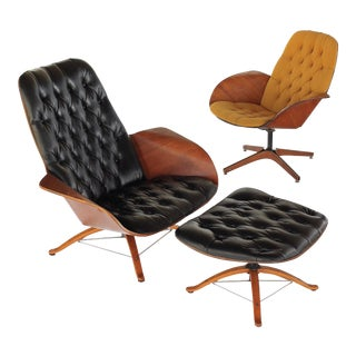 1960s Vintage George Mulhauser for Plycraft Mr and Mrs Chairs- 3 Pieces For Sale