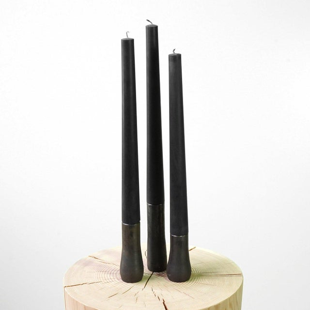 2010s 'Candlestick Grove' Blackened Steel Candlesticks - Set of 3 For Sale - Image 5 of 5