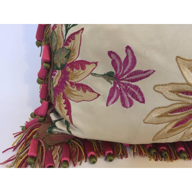 Vintage Colorful Silk Pillow With Spring Fresh Flowers Designs and Trim For Sale - Image 10 of 13