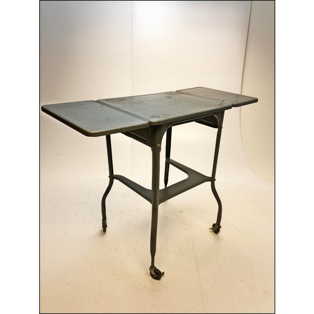 Vintage Industrial Gray Metal Typewriter Table with Double Drop Leaf For Sale - Image 11 of 13