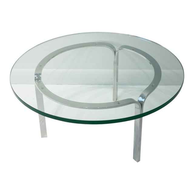 Nicos Zographos Ribbon Steel Cocktail Table For Sale