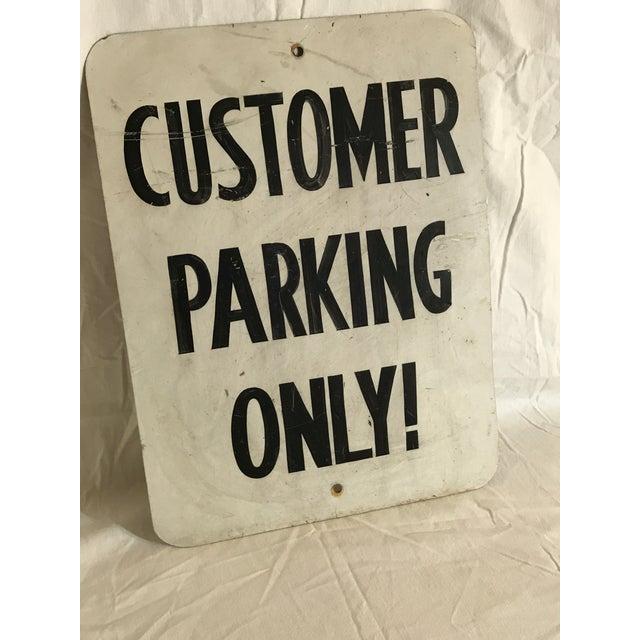 """Vintage """"Customer Parking Only"""" Metal Sign - Image 3 of 6"""
