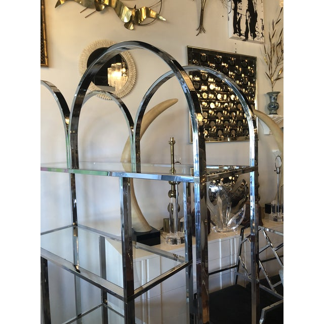 1970s Vintage Arched Chrome Glass Display Shelf Shelves Etagere For Sale - Image 5 of 13