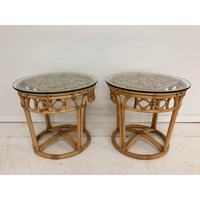 Vintage Boho Chic Rattan and Reed Side Tables - a Pair For Sale - Image 11 of 11