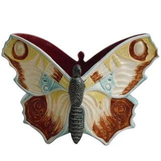 19th Century Art Nouveau Majolica Pottery Butterfly Jardiniere