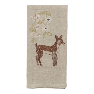Deer With Blossoms Tea Towel