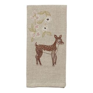 Deer With Blossoms Tea Towel