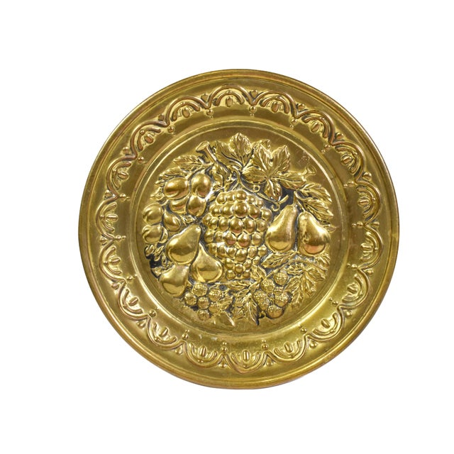 Metal Vintage England Scene Embossed Brass Wall Hanging Tray Plate, England - 5 Pieces For Sale - Image 7 of 12