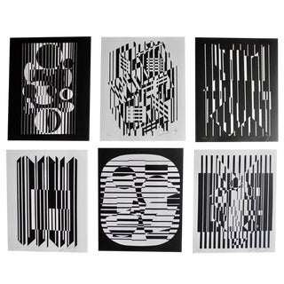 20th Cnetury Optical Art Black and White Lithographs or Screen-Prints by Victor Vasarely For Sale