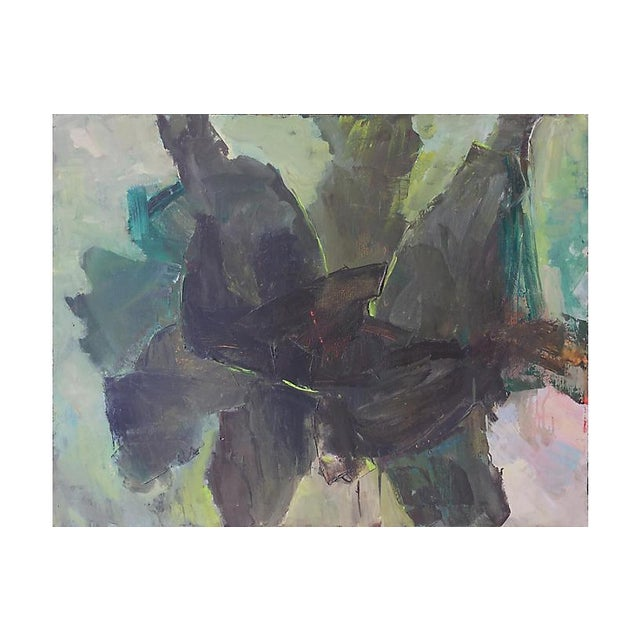 Abstract in Charcoal and Sage, 1960s For Sale - Image 6 of 6