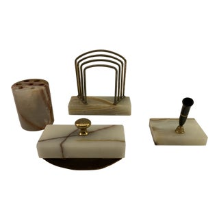 Vintage Art Deco Alabaster Desk Set, Pen Holders, Small File, Blotter - 4 Pieces For Sale