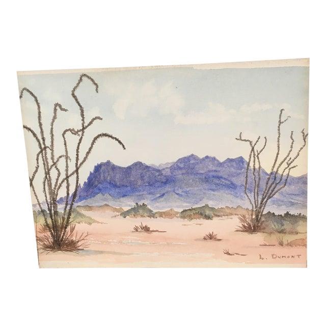 Vintage Desert Watercolor Painting For Sale