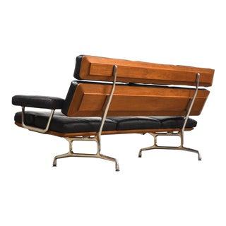 Eames Aluminum Group for Herman Miller Black Leather Sofa For Sale