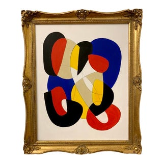 Original Primary Color Abstract Framed Painting For Sale