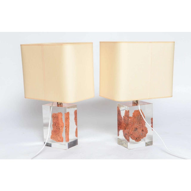 Lucite Natural Red Coral in Lucite Block Table Lamps - Sold Indivdually For Sale - Image 7 of 11