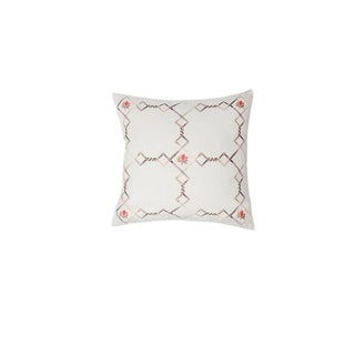 Small Linen Flower Grid Pillow For Sale