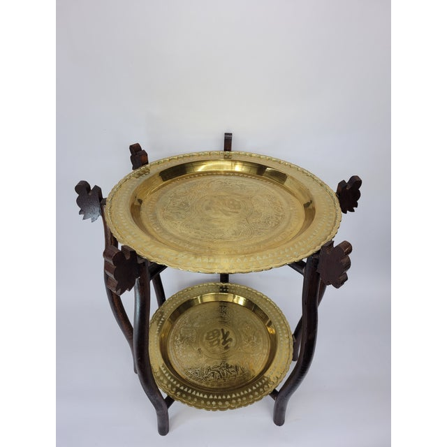Vintage Asian 2 Tier Brass Tea Table with Engraved Elephants, Deer, and Birds For Sale - Image 9 of 9