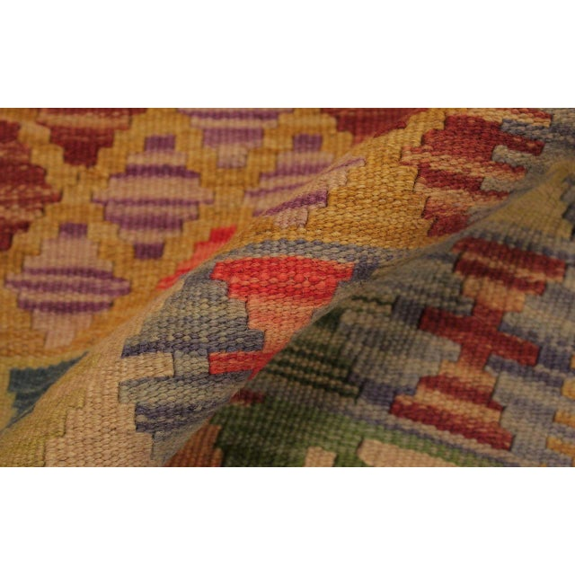 Contemporary Tribal Lesli Beige/Gold Hand-Woven Kilim Wool Rug -3'6 X 6'9 For Sale - Image 4 of 8