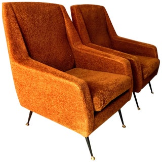 Pair of 1960s Italian Sofa Armchairs in the Manner of Gio Ponti For Sale