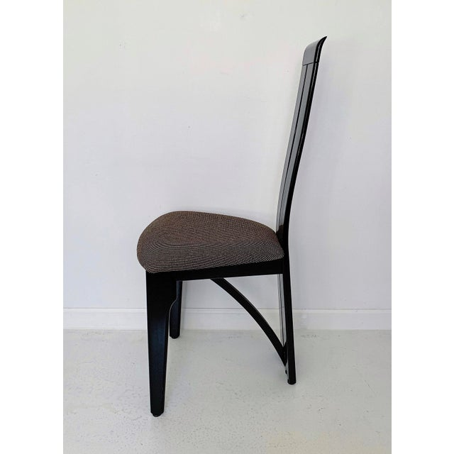1990s Vintage Italian Pietro Costantini High Back Black Lacquer Dining Chairs- Set of 6 For Sale - Image 10 of 13