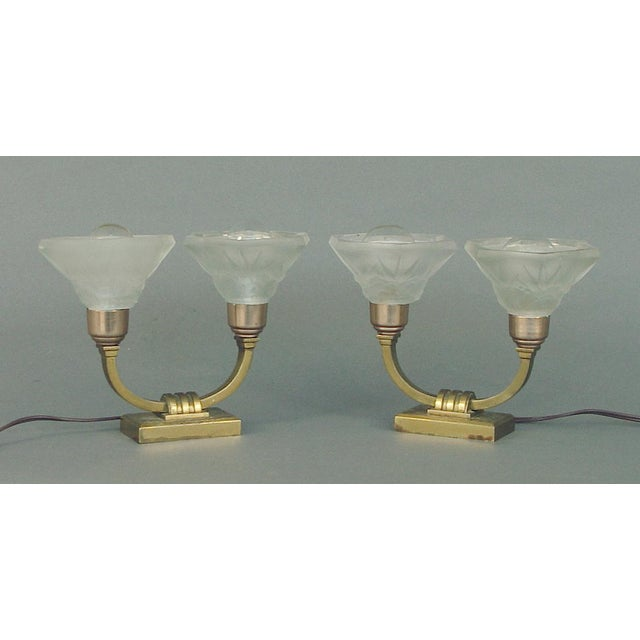 Gold 1920s Sabino Art Deco Table Lamps With Shades by Lorrain - a Pair EU Wired For Sale - Image 8 of 8