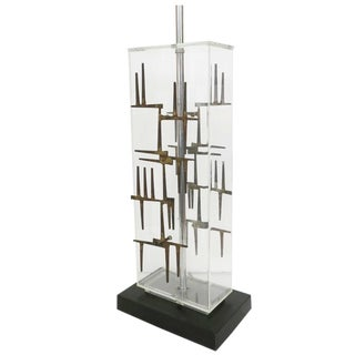 Brutalist Nail Sculptural Lucite Table Lamp by Laurel For Sale