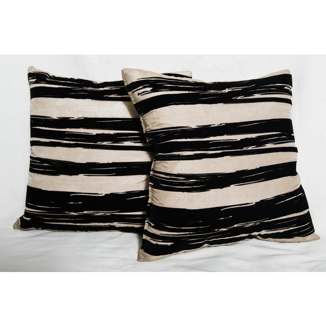 Contemporary Raw Silk Pillows-A Pair - Image 3 of 4