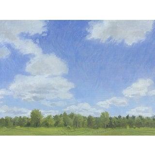 Cumulus Clouds at Lucy Brook Farm: Original Oil Painting Plein Air Landscape For Sale