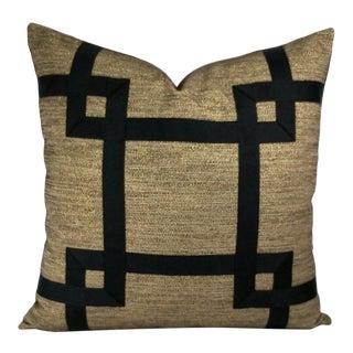 "Black Ribbon Fretwork on Black Tan Gold Foil Thread Woven Pillow Cover - 24"" X 24"" Ribbon Embellished Euro Sham For Sale"