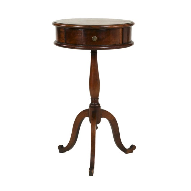 1890s English Round Fruitwood Tripod Bas & Single Drawer Pedestal Table For Sale - Image 11 of 11