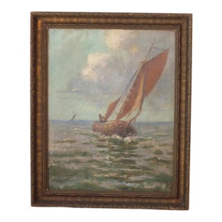 Early 20th Century Antique Sailboat Framed Painting For Sale