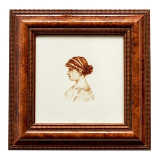 Late 19th Century Antique Hand-Painted Portrait of a Young Woman Minton Hollins & Co. Ceramic Tile For Sale