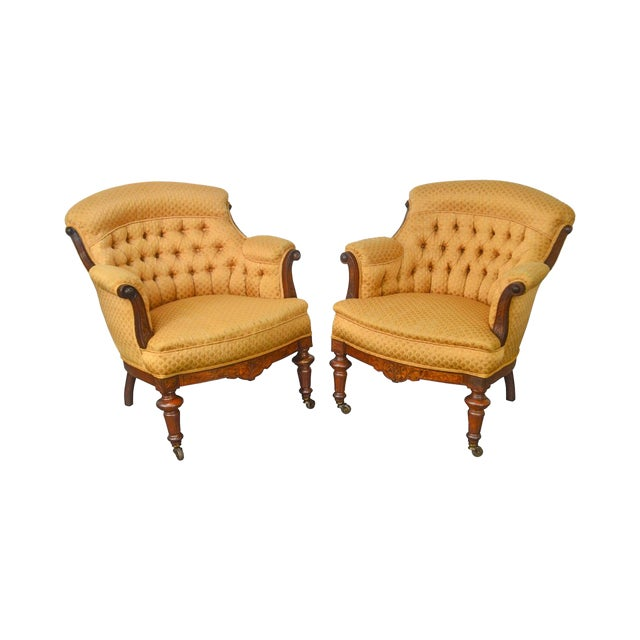 Victorian Eastlake Pair of Antique Walnut Tufted Barrel Back Club Chairs - Victorian Eastlake Pair Of Antique Walnut Tufted Barrel Back Club