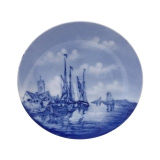 Antique Nautical Blue and White Delft Plate For Sale