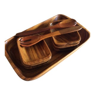 1970s Monkey Pod Acacia Wood Salad Bowl Set of 9 For Sale