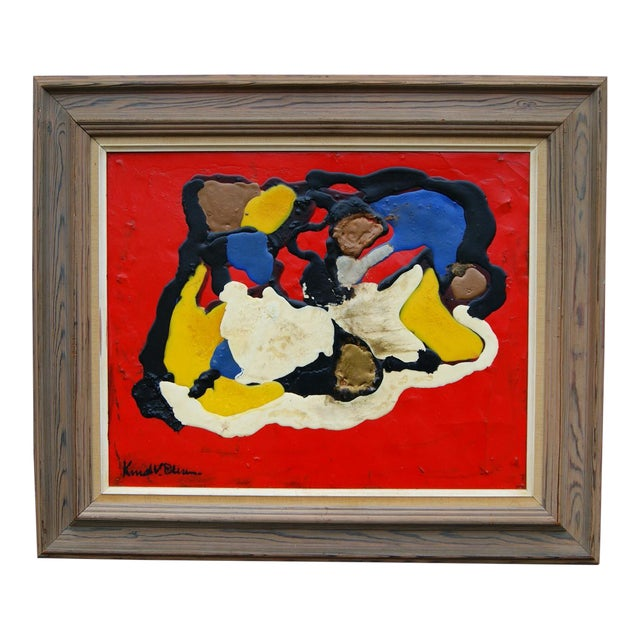 Knud V. Olesen Red Abstract Composition - Image 1 of 5