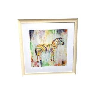 Large Multicolored Framed Zebra Print For Sale