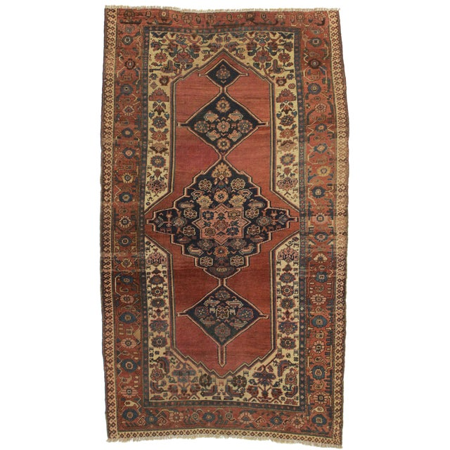 "RugsinDallas Antique Hand Knotted Wool Persian Bijar Rug - 5' X 8'6"" - Image 1 of 2"