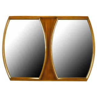 Modern Walnut Double Barrel Mirror For Sale