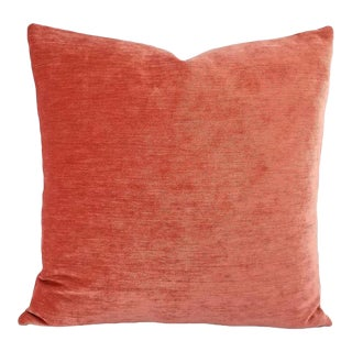 Coral Pink Solid Chenille Pillow Cover For Sale