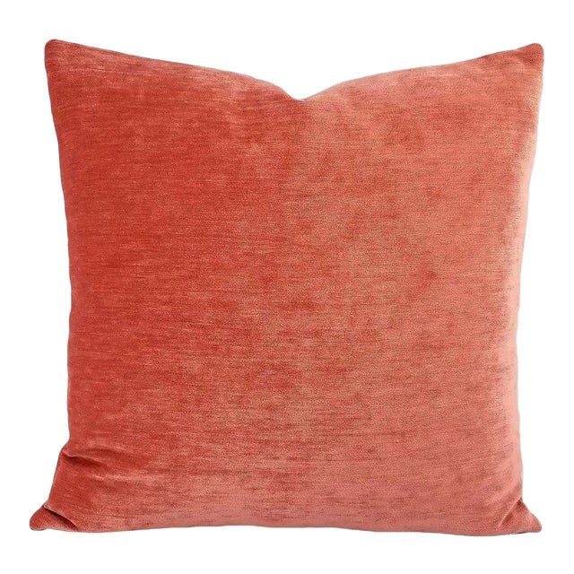 Image of Coral Pink Solid Chenille Pillow Cover