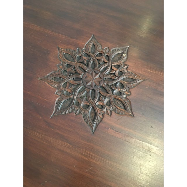 Hexagonal Carved Wood Moroccan Table - Image 4 of 9